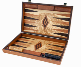 Manopoulos Backgammon Set en bois d'olivier